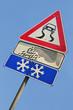Segnale di strada scivolosa su cielo blu