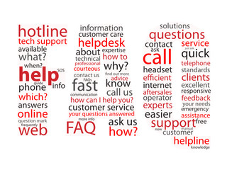 """FAQ"" Tag Cloud (questions support hotline button sos help)"