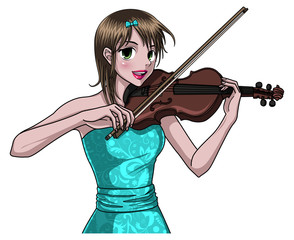 Pretty Girl Playing Violin