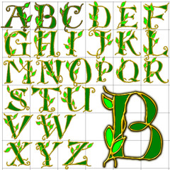 abc alphabet background leaves design