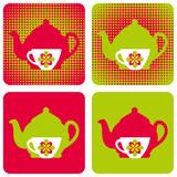 tea-kettle-cup-popart-symbols poster