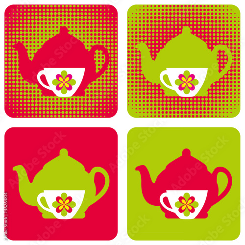 poster of tea-kettle-cup-popart-symbols