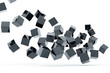 Falling and hitting gray metallic cubes on a white background
