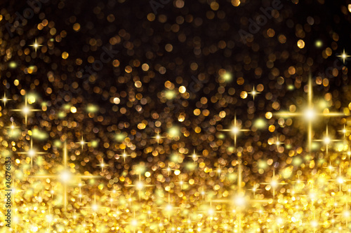 Golden Christmas Lights and Stars Background - 36276853