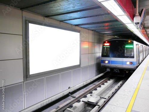 Blank billboard in subway station - 36277010