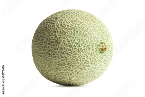 Green Cantaloupe or Muskmelon isolated on white background