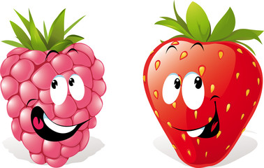 strawberry and raspberry cartoon