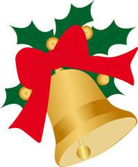 Weihnachtsglocke mit Schleife und Ilex - Christmas Bells