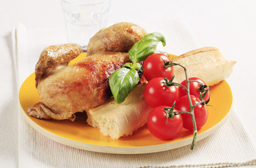 Roast chicken and crispy baguette