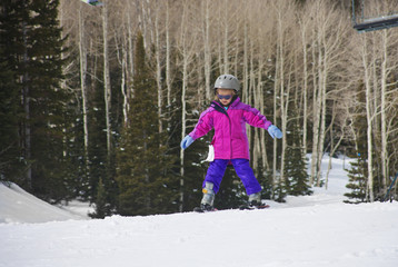 Litte Girl learning to Ski