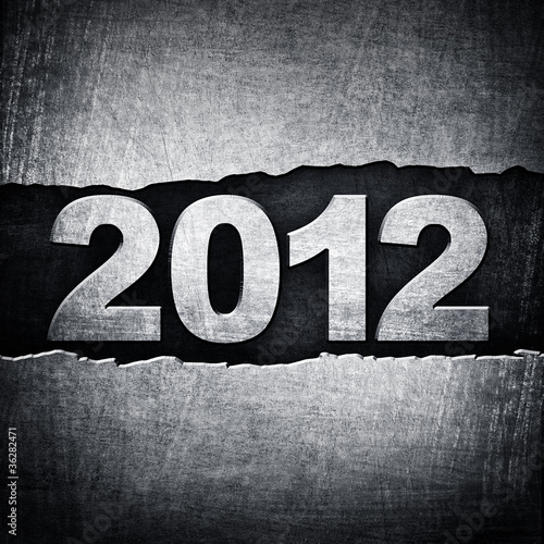 "cracked metal background with ""2012"" number"
