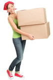 Woman carrying moving boxes - 36282641