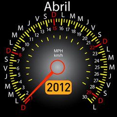 2012 year calendar speedometer car in Spanish. April
