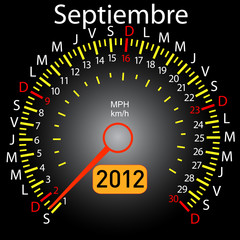 2012 year calendar speedometer car in Spanish. September