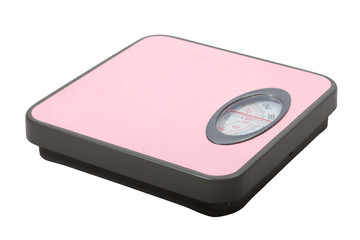 Weighing scales  over white