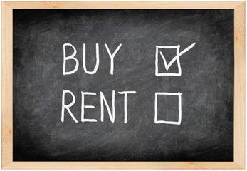 Buy not rent blackboard concept