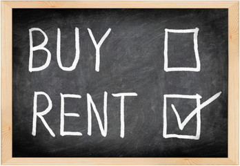 Rent not buy blackboard concept