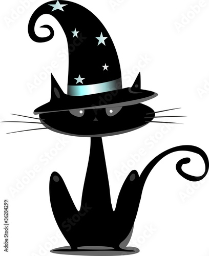 Halloween Cat with Witches Hat
