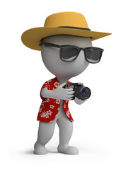 3d small people - tourist with a camera