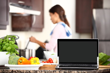 cooking and computer laptop concept