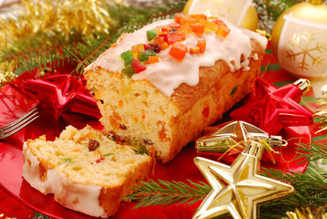 christmas cake with dried fruits