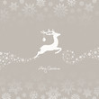 Flying Reindeer, Christmas Ball & Snowflakes Brown Background