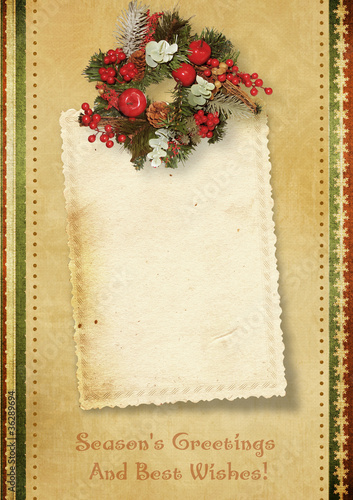 Fotobehang Retro Vintage Christmas card with the wishes