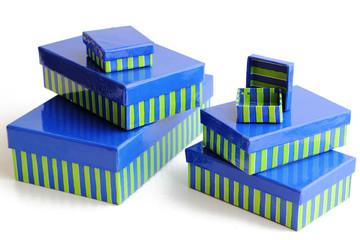 6 Geschenkboxen in blau-grün