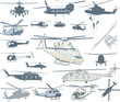 Helicopters vector collection