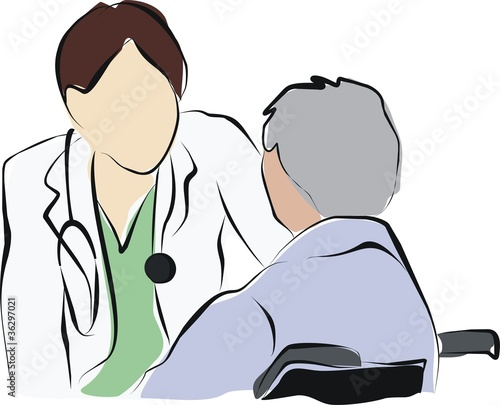 vector of doctor speak with old patient man