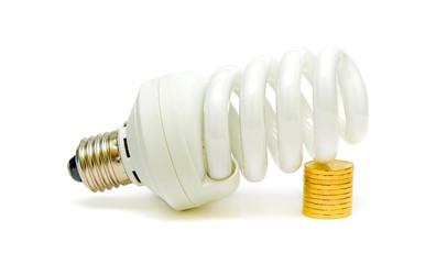 Energy saving light bulb and money