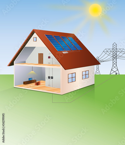 illustration of a house with solar cells on the roof
