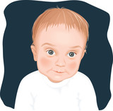 Adorable baby boy portrait, vector illustration