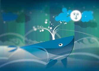 Stampa Balena luna mare illustrazione libro