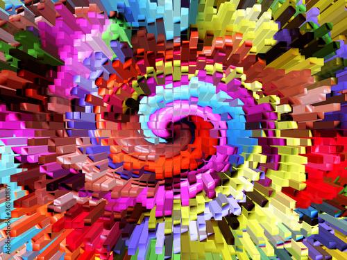 Foto op Canvas Spiraal extruded rainbow twirl
