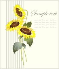 Greeting card with a sunflower