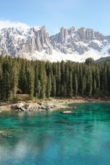 Lake Carezza and Latemar mountain of Dolomites Alps, Italy