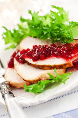 Turkey breast with cranberry sauce