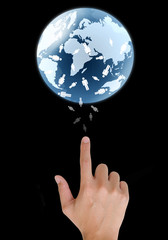 concept hand pointing a glowing earth globe and people.