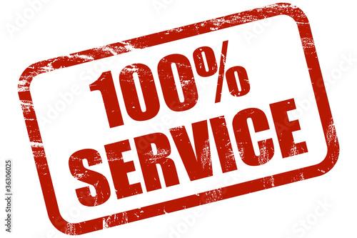 Grunge Stempel rot 100% SERVICE