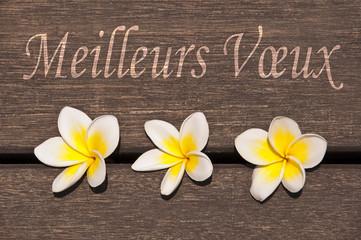 Meilleurs voeux, fleurs de frangipanier