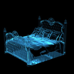 Bed Blue transparent 3D