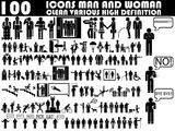 Fototapety 100 ICONS MAN AND WOMAN CLEAN VARIOUS