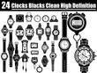 24 CLOCKS BLACS CLEAN HIGH DEFINITION