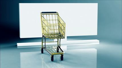 Rotating gold shopping cart