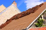 renovation of a tiled roof of an old house