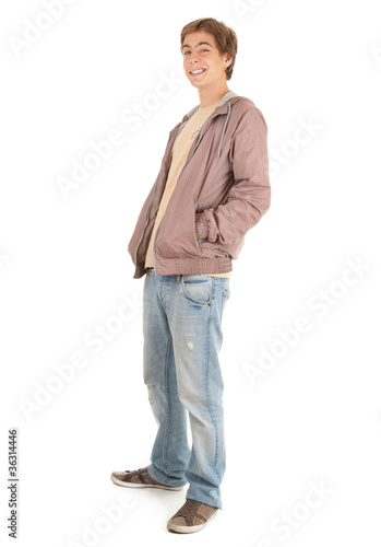 young man in casual jacket with hands in pocket, full length