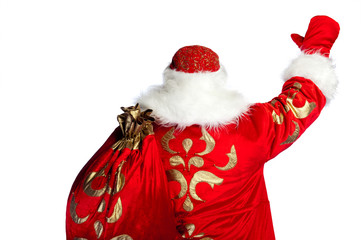 Santa Claus pointing his hand isolated over white. Photo from be