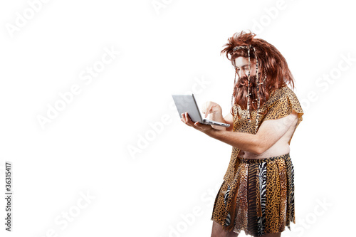 Poster Caveman with a laptop (5).