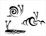 snail, slug and hermit crab concept set poster